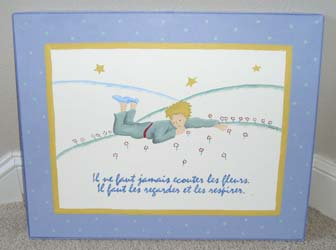 Nursery painting and excerpt from Le Petit Prince