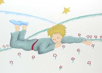 Nursery painting from Le Petit Prince (closeup)